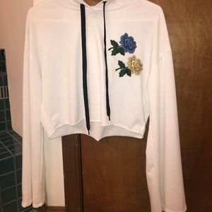 Cropped white charlotte russe hoodie with roses